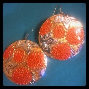 Earring! Orange and Silver floral!